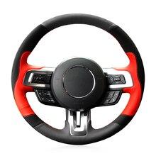 Couverture de volant de voiture pour Ford Mustang   Cuir suédé rouge noir, antidérapant souple, cousu à la main pour Ford Mustang 2015-2019 Mustang GT 2015