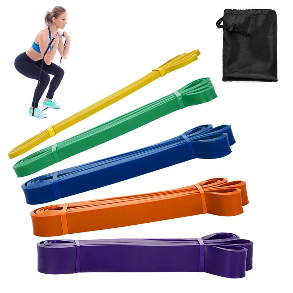5 unids/set juego de banda de resistencia látex Yoga ejercicio deportes Fitness equipamiento para entrenamiento de fuerza Pull Up bandas elásticas bucle expansor
