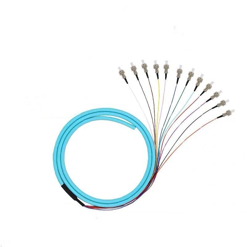 Pacote de fibra óptica trança st multimodo mm om1 62.5/125 12 núcleo pigtail st fábrica cabo remendo frete grátis