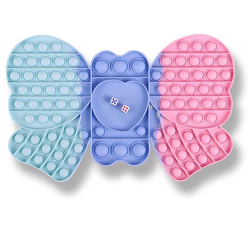 Pop Its Large Size Bowknot Checkerboard Fidget Toys Girls Kawaii Macron Colour Push Bubble Simple Dimple Decompression Sensory