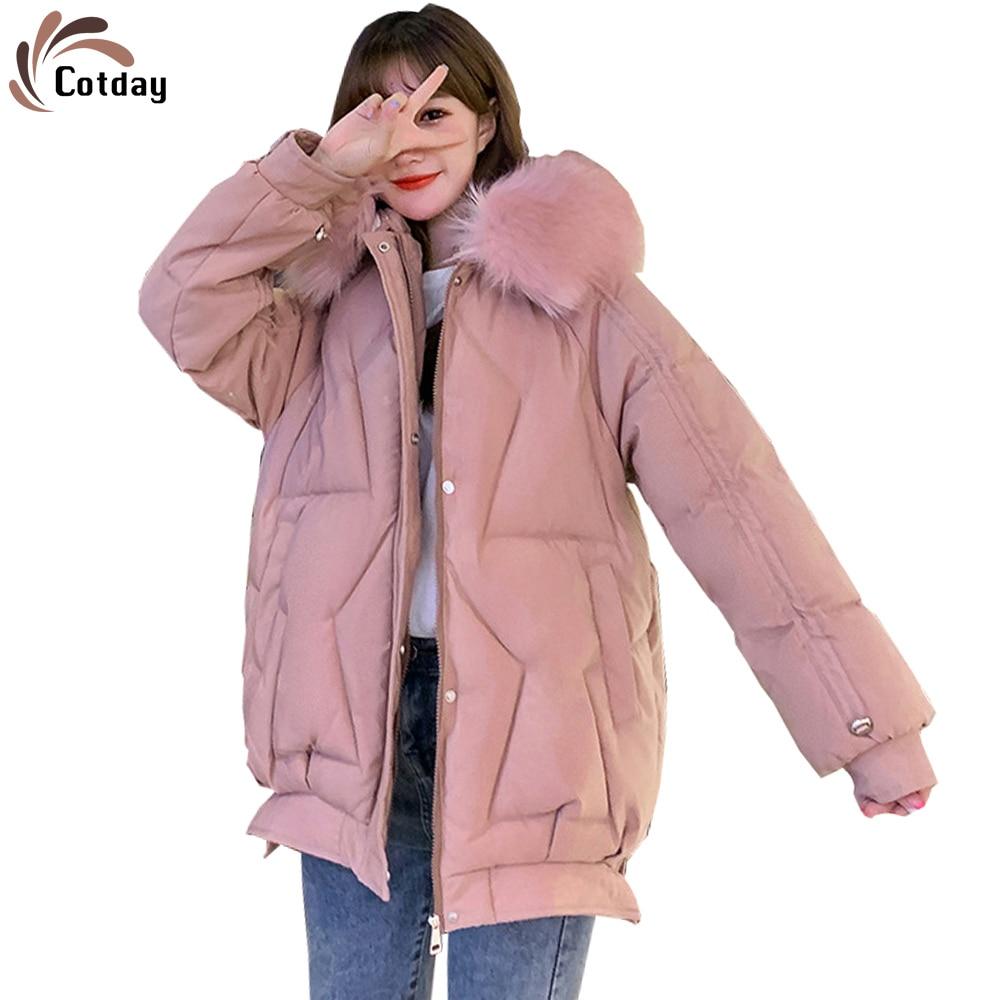 Cotday-معطف شتوي طويل من الفرو ، معطف شتوي كبير من الفرو ، جاكيت كوري سميك للنساء