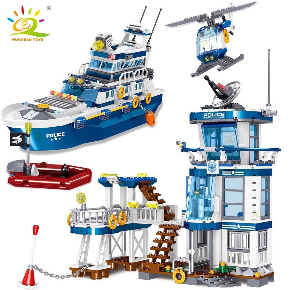 HUIQIBAO 866 stücke Meer Polizei Station Mit Boot Stadt Bausteine Kit Polizist Zahlen Bricks Bau Spielzeug Für Kinder