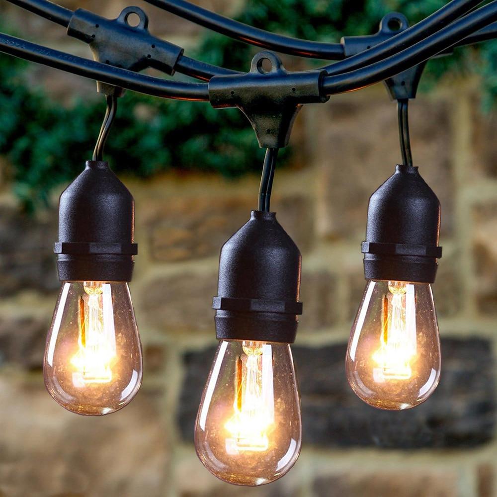 Christmas Fairy Lights LED Bulbs Solar String Light Garland Waterproof S14 glass Bulb Holiday Lighting For Decoration