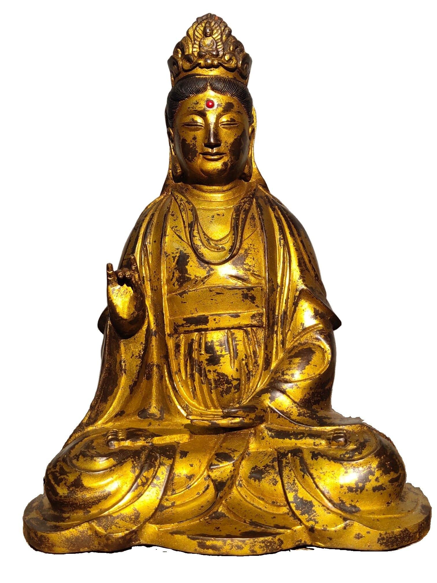 Laojunlu النحاس النقي و مذهب تمثال بوذا القديم في مجموعة التبت القديمة غوان شي يين بوديساتفا ، باحترام