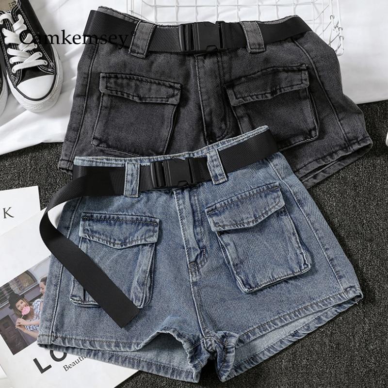 CamKemsey Basic Summer Denim Shorts Women 2020 Streetwear Pockets Casual High Waist Wide Leg Blue Jeans Shorts With Belt