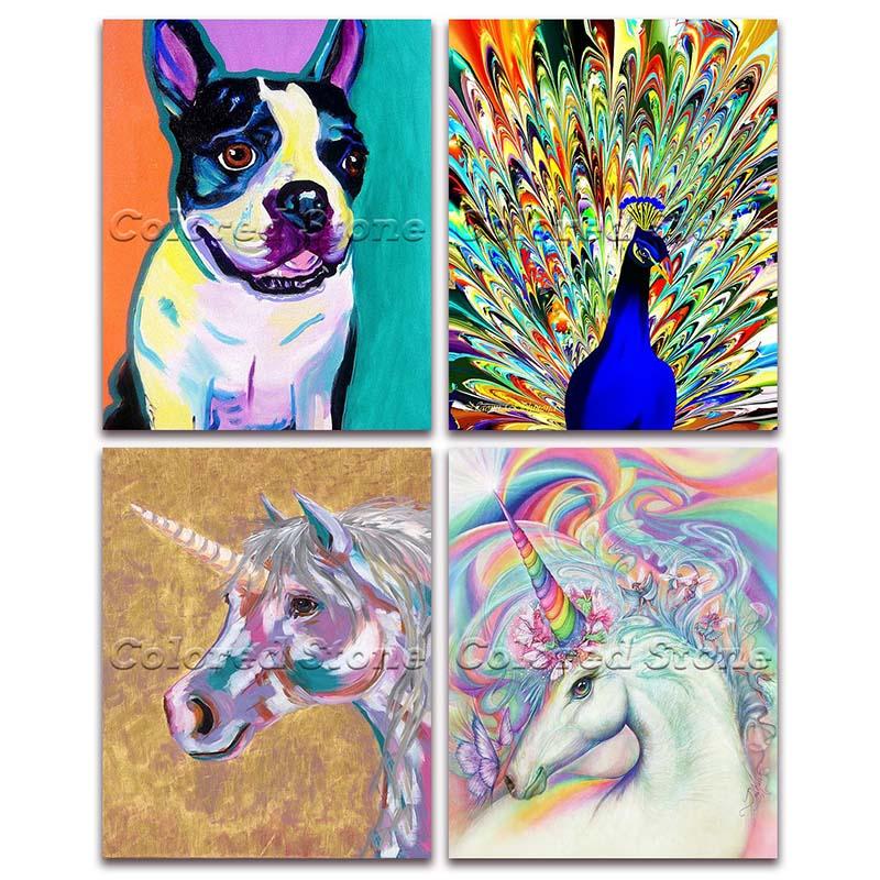 5D Voll Platz Diamant malerei stickerei Kreuz stich Tier bunte hund pfauen pferd einhorn 3D DIY Runde Bohrer mosaik 111