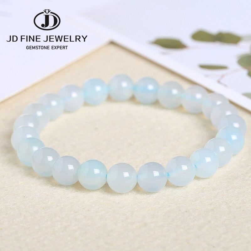 Jd natural pedra gema redonda luz azul ágata feminino pulseiras bangle 4-20mm contas de energia rosário étnico pulseira de oração