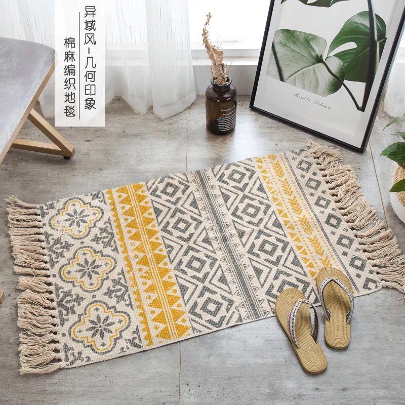 سجادة أرضية مربعة بوهيمية لغرفة المعيشة ، ديكور حديث على الطراز المغربي لغرفة النوم