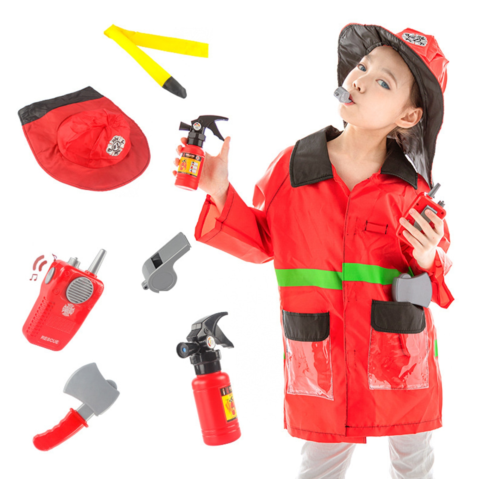Fire-fighting Costumes Pretend Toy For Kids Funny Firefighter Dress Up Role Play Toy Accessories Child Firefighter Costumes Toy недорого