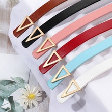 PU Leather Belt for Women Triangle Buckle Pin Buckle Jeans Belt Chic Luxury Brand Ladies Vintage Str