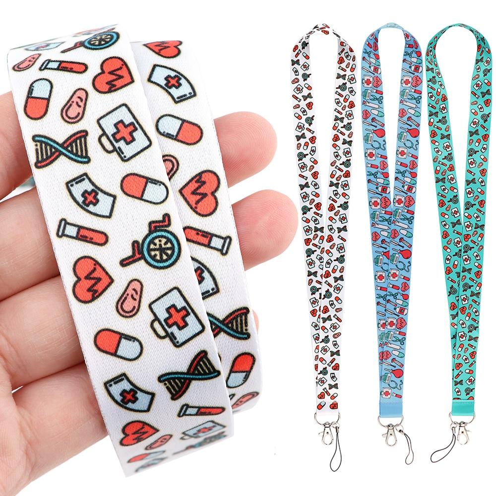 DZ2117 медсестры шнурки для цепочка для ключей врачей чехол для ID карты пройти мобильный телефон держатель значка брелок для ключей шейные пла...