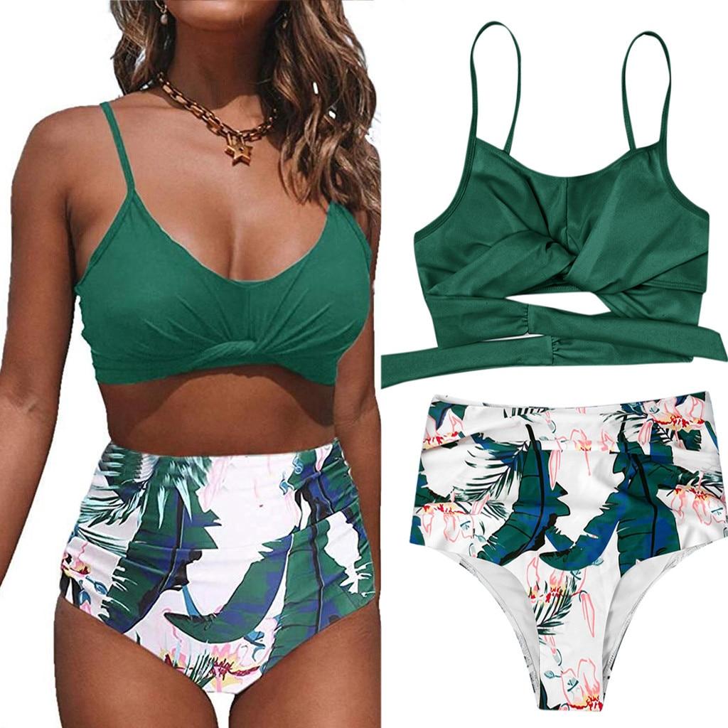 Frauen Schwimmen Anzug Sexy Bikini Badeanzug 2020 Frauen Zwei Stück Plus Größe Sexy Backless Halter Strand Gedruckt Bademode Set #3