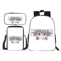 hunter x hunter backpack 3pcs set backpack children anime cartoon messenger bag pencil case bookbag teens mochila daily rucksack