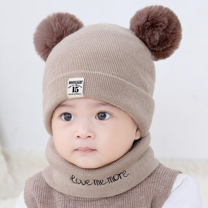 新秋冬子供帽子ダブルボール帽子キッズビーニーキャップセットガールズボーイズ暖かいフード付き帽子ベビースカーフ幼児キャップ 0-12M