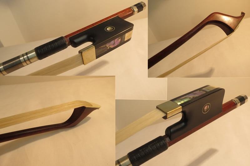 Fuerte profesional estilo francés Pernambuco fibra de carbono bajo arco 3/4, montado en cobre
