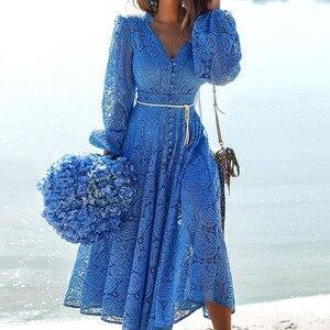 Dress Women Dress Fashion Women Elegant Sweet Hallow Lace Out Lace Dress Sexy Party Solid Autumn Dresses Vestidos Blue
