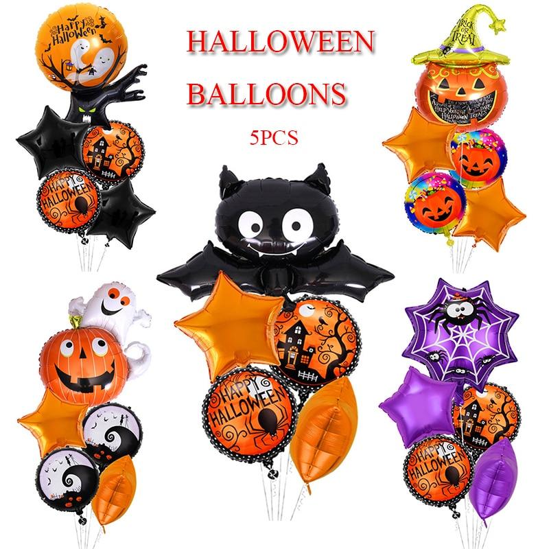 Декоративные фольгированные воздушные шары на Хэллоуин, тыква, паук, воздушные шары на Хэллоуин, гелиевые шары, 5 шт.