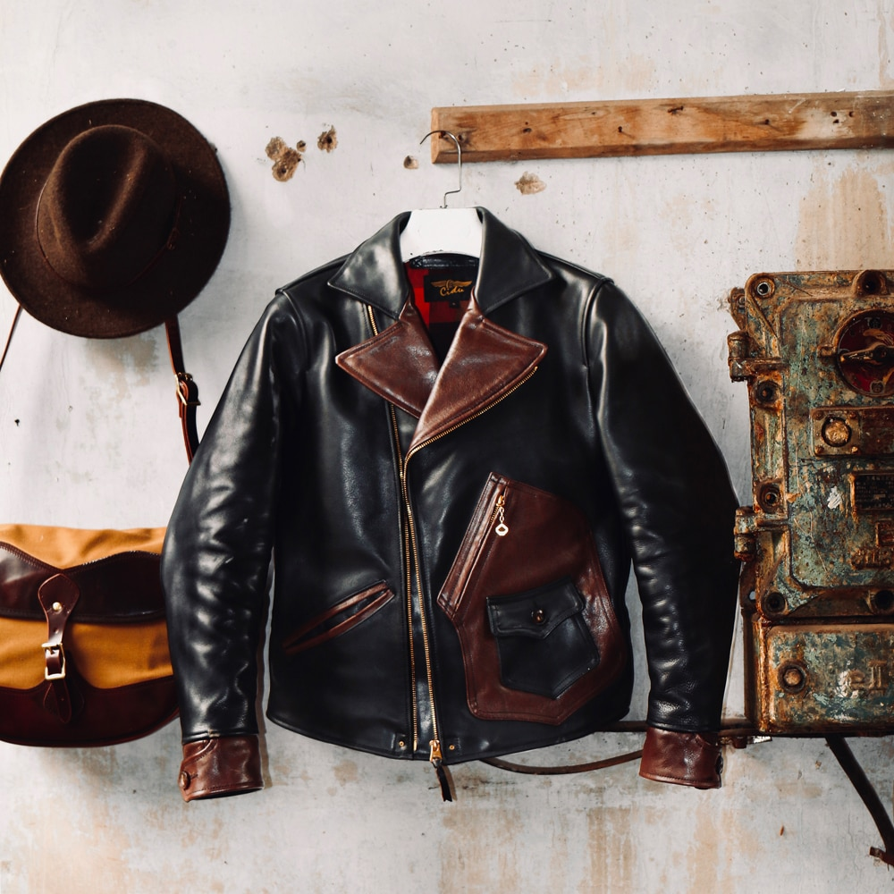 CDJ-72 Cidu Read Description ! Asian Size Super Quality Men's Genuine Cow Coat Cowhide Leather Aged Washing Jacket