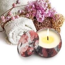 Рождественские бездымные ароматы, Ароматерапия Свеча с жестяной баночкой растение эфирное масло натуральный соевый воск свечи для домашне...