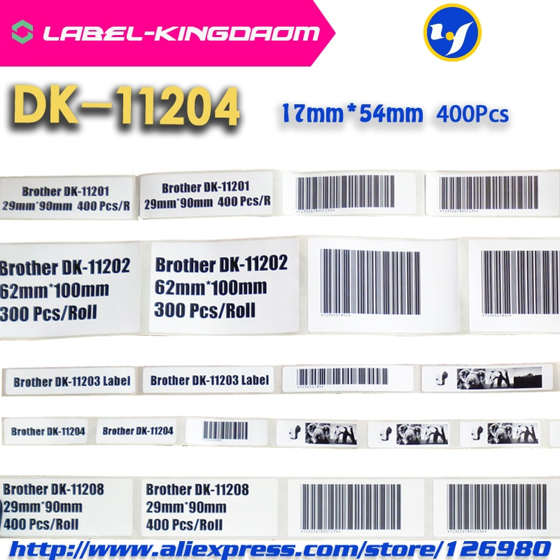 3 Roll Compatible DK-11204 Label 17mm*54mm Compatible for Brother Label Printer All Come With Plastic Holder 400Pcs/Roll