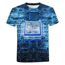 Circuit Board Electronic Chip T Shirt Unisex Summer Casual Cool Short Sleeve Men Women Harajuku Streetwear Oversized T-shirt