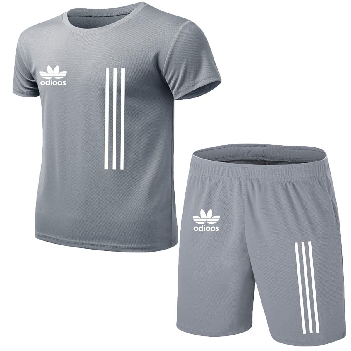 New men's sportswear 2020 summer two-piece men's short-sleeved T-shirt top shorts suit men's sportswear fitness running clothes