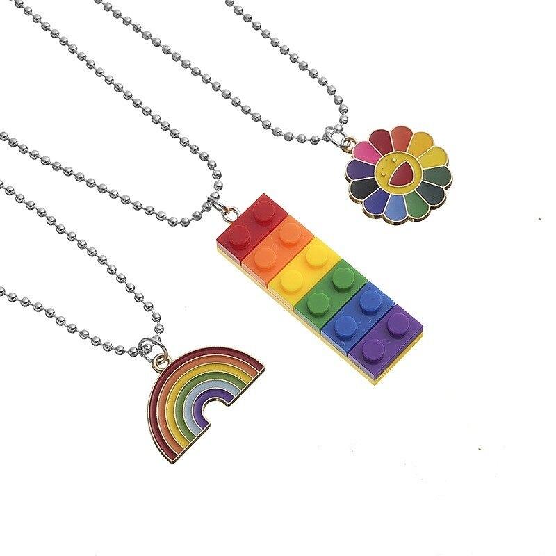 Mode arc-en-ciel soleil fleur tournesol collier chaîne pétales colorés Smiley bloc de construction Hip Hop pendentif collier femmes