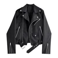 spring autumn korean short faux leather jacket plus belt lapel slim washed leather long sleeve zipper casual moto biker jackets