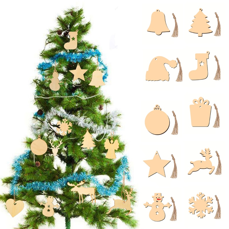10Pcs 10Styles Wood Christmas Tree Elk Snowman Bell Star Sock Gift Hanging Decoration New Year Wedding Party Pendants Ornaments