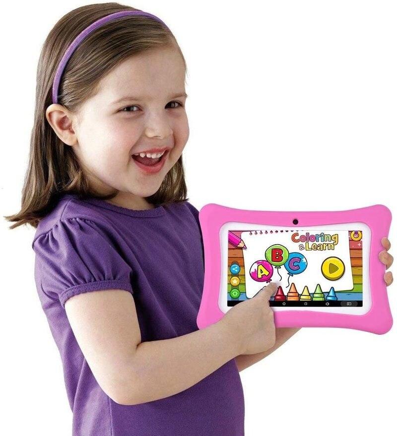 السنة الجديدة هدية طفل اللوحي M755 أندرويد 7.1 نوجا 1GB + 8GB RK3126 DDR3 كاميرا مزدوجة غطاء من السيليكون بلوتوث متوافق واي فاي