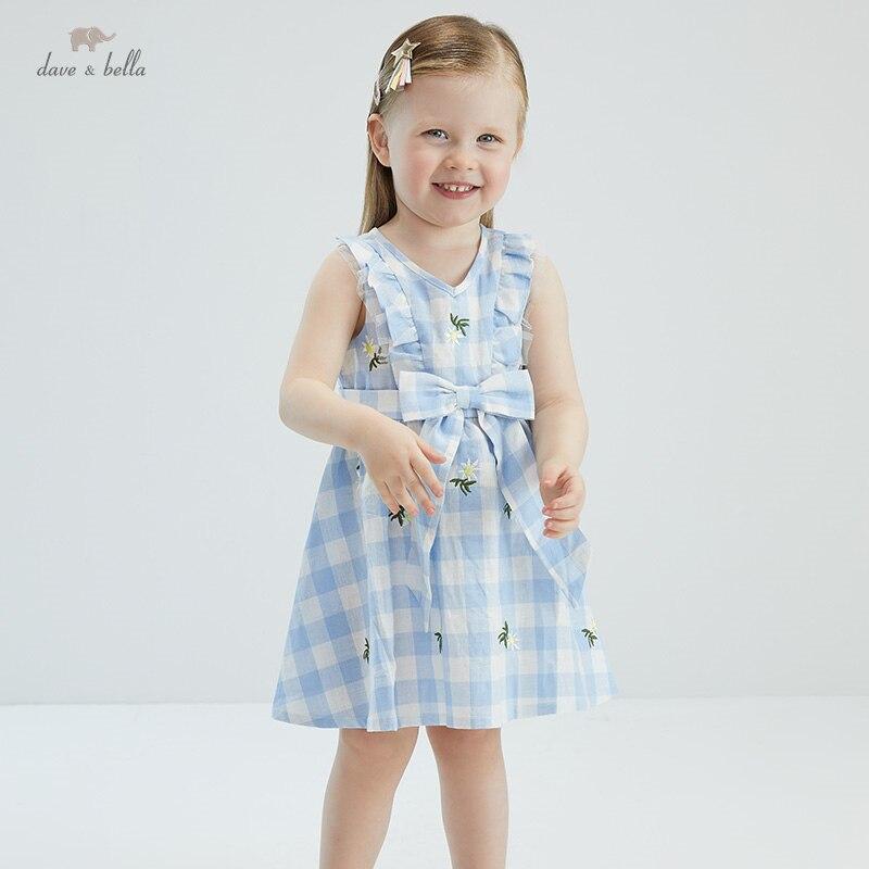 DB17787 ديف بيلا الصيف طفلة لطيف القوس الأزهار منقوشة فستان أطفال موضة فستان الحفلات الاطفال الرضع لوليتا الملابس