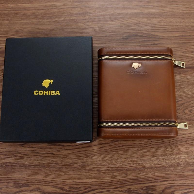 Leather Cigar Case COHIBA Cedar Wood Humidor Travel Cigar Humidor Box Retro Smoking Accessories Cigar Humidifier enlarge