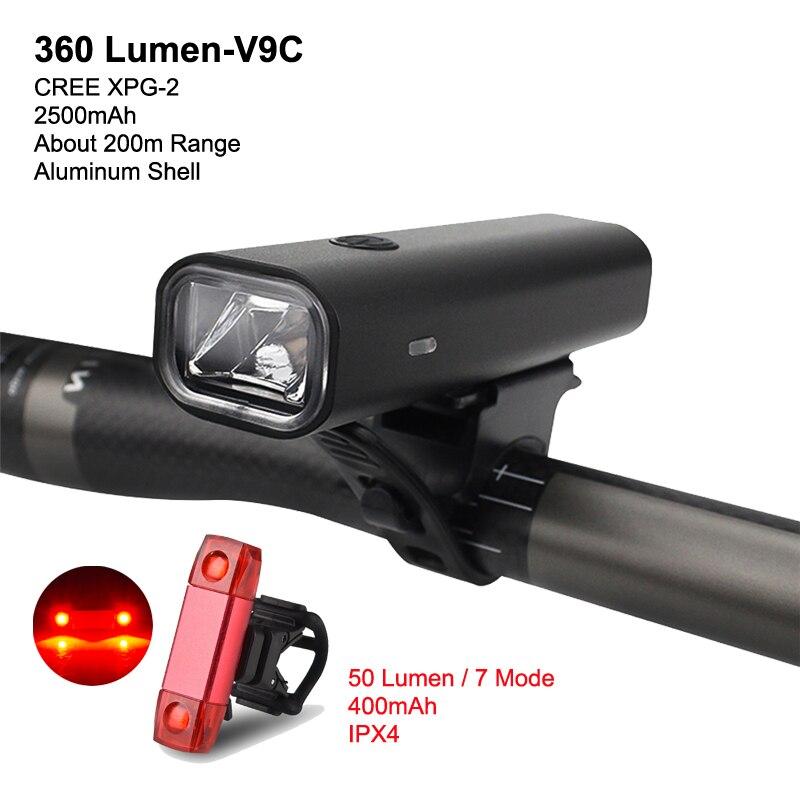 SFIT 8 horas de luz de resistencia para bicicleta 2500mAh USB recargable LED MTB lámpara frontal faro lámpara ultraligera Luz de paseo en bicicleta