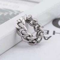 fashion cool girl punk simple style stainless steel hip hop women chain shape rings for party finger jewelry