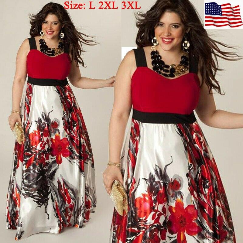 Chegada das mulheres sexy vestido de verão boho maxi longo festa vestido floral praia mais tamanho L-3XL