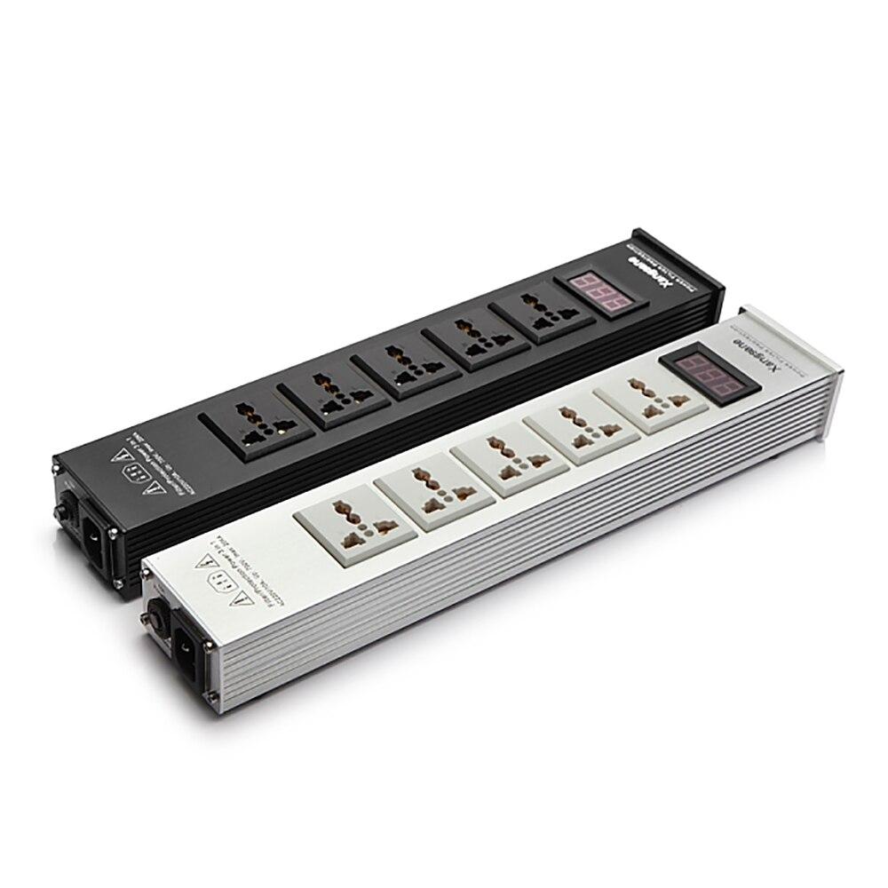 AC100 السلطة تصفية المقبس الجهد شاشة ديجيتال الصوت لتنقية الطاقة مع 5 قطعة مأخذ الانتاج العالمي 10A