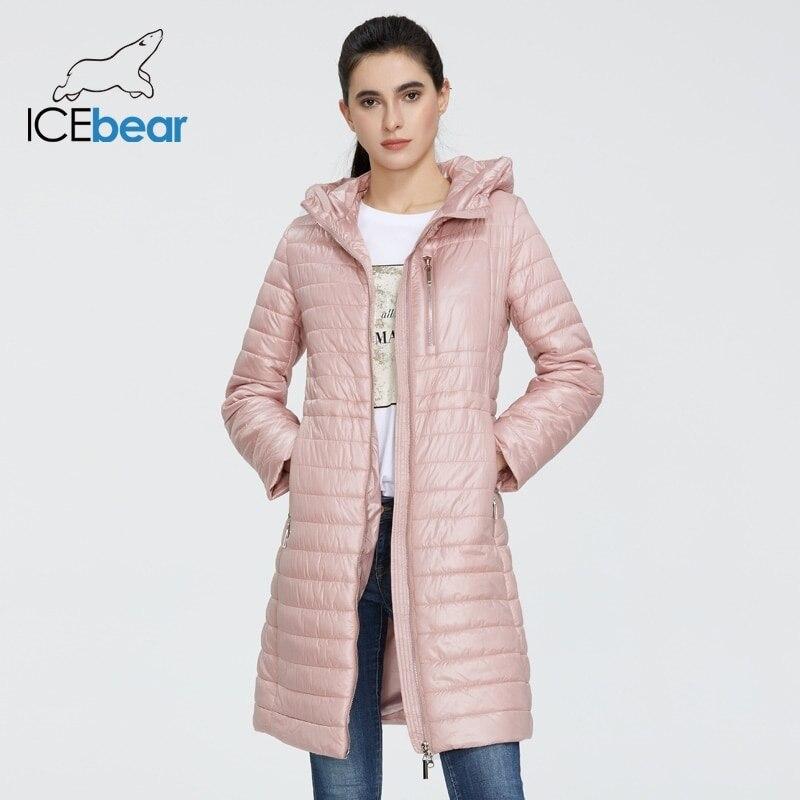 ICEbear 2021 جديد ربيع المرأة سترة عالية الجودة معطف الإناث السيدات سترة بقبعة موضة الملابس GWC20702I