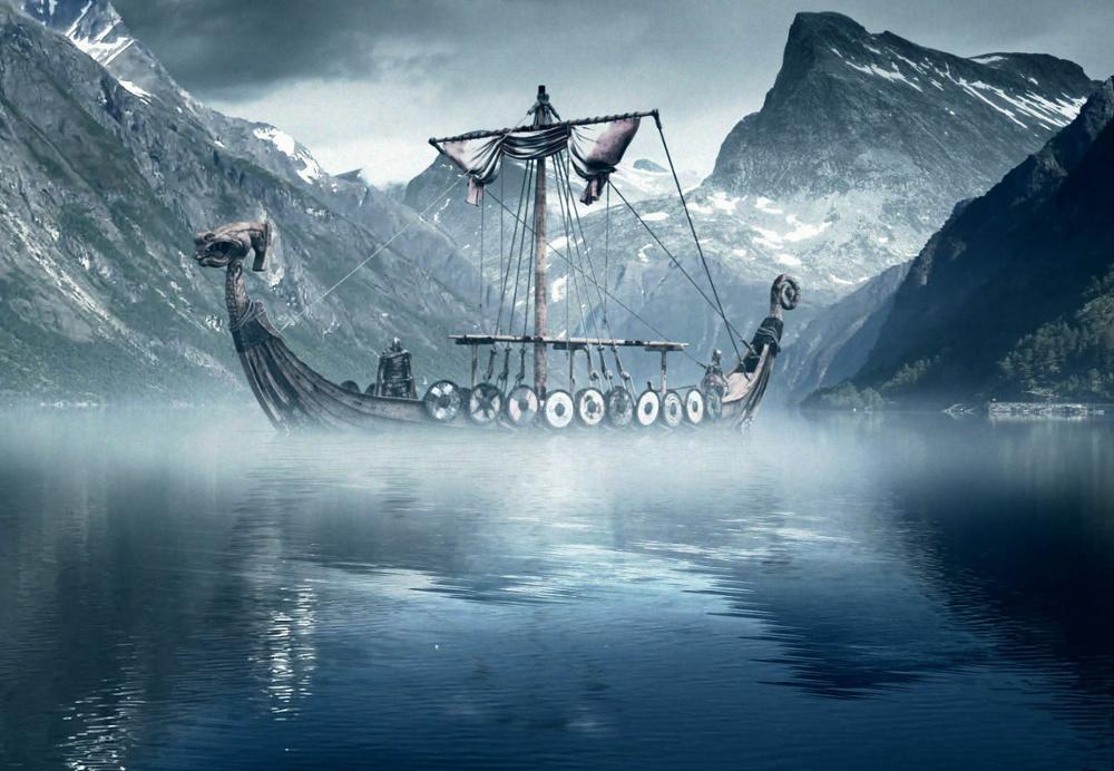 Lámina de arte vikinga de barco largo en el frío Mar del Norte, póster de seda con impresión, decoración para la pared del hogar de 24x36 pulgadas
