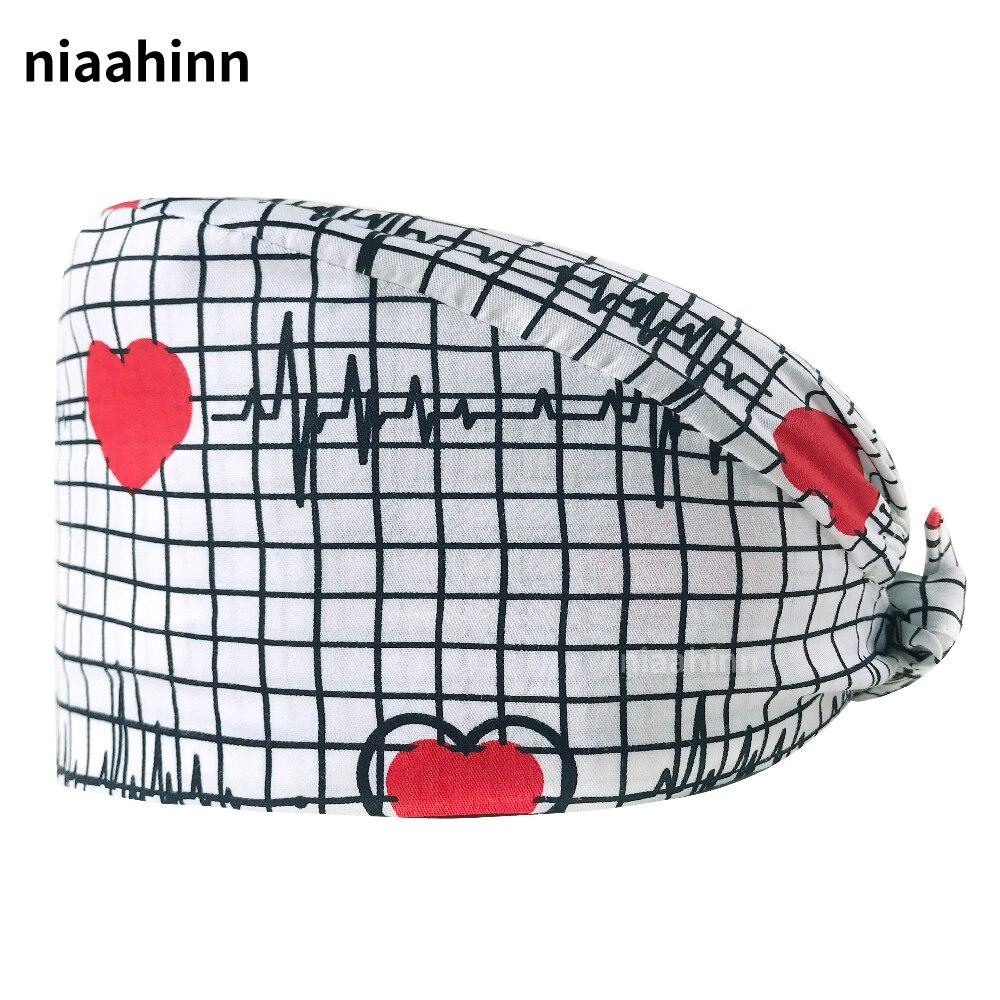 Cartoon Printing Tieback Scrubs Hats Pure Cotton Pet Hospital Doctor Nurse Work Caps with Sweat-absorbent Anesthetist Work Caps
