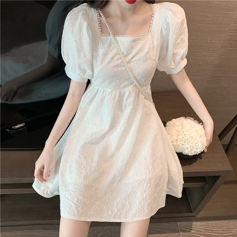 2021 Spring and Summer New Backless Lace-up Bow Skirt Temperament Square Collar Dress Women's High W