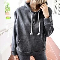 winter clothes women buttons long sleeve womens hoodie hooded drawstring pocket female sweatshirt solid streetwear pullovers