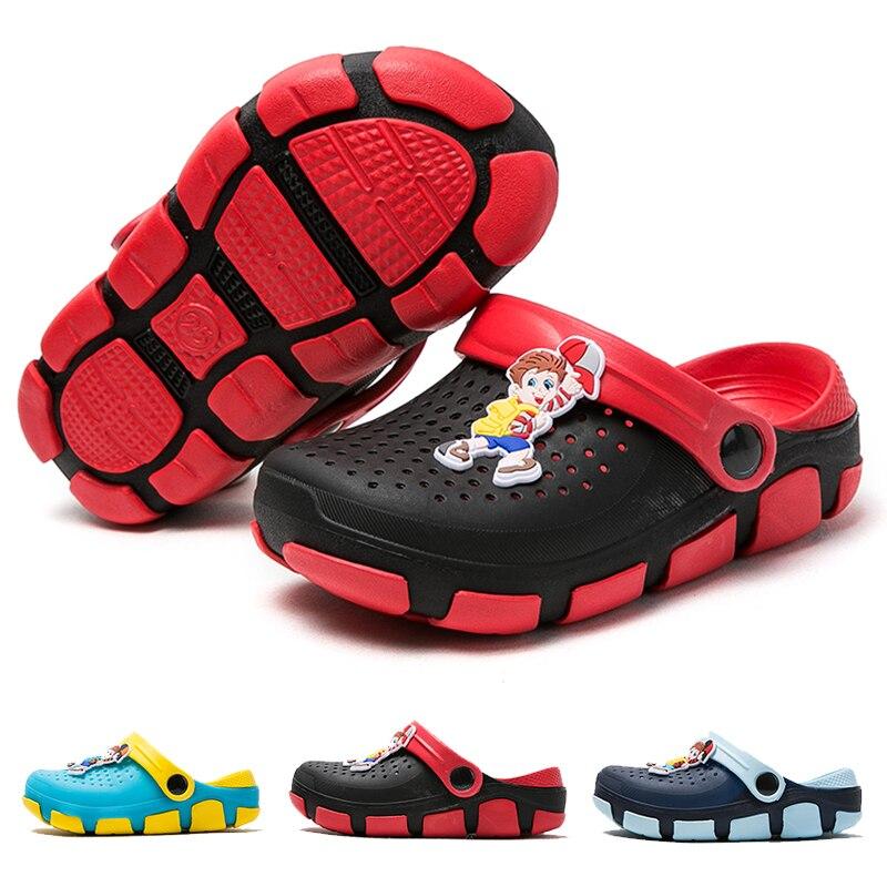 Children Sandals Summer for Kids Clogs Beach Shoes Non-Slip Hole Shoes Boy Garden Cartoon Sandals for Girls Colorful Shoes EVA