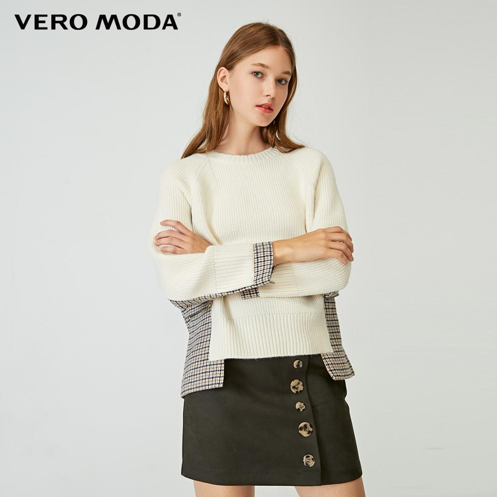 Vero Moda Women's Asymmetrical Houndstooth Spliced Round Neckline Knit   320113521