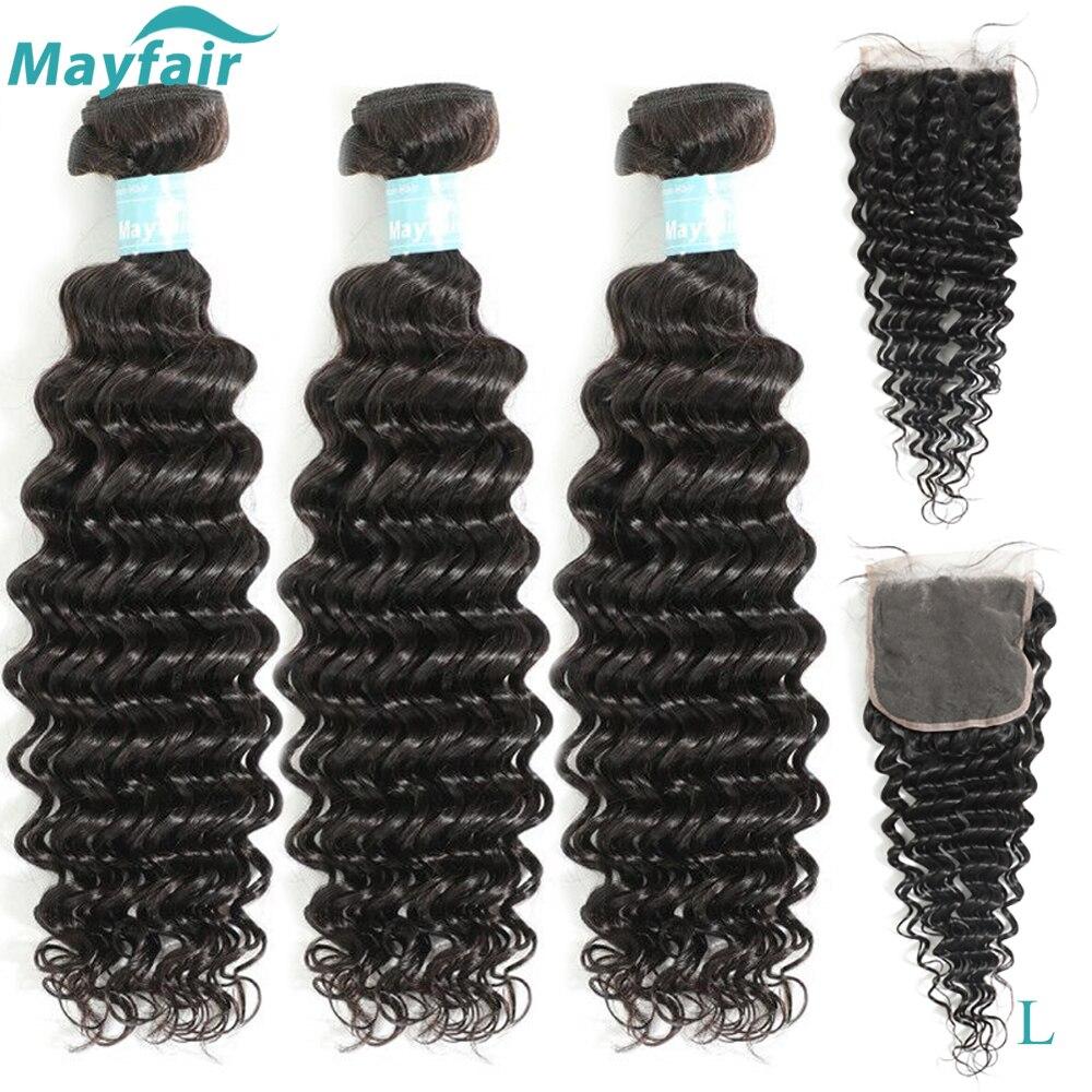 Mayfair Deep Wave Bundles With Closure Malaysian Hair Weave Bundles With Closure L Non-Remy Human Hair Bundles With Closure