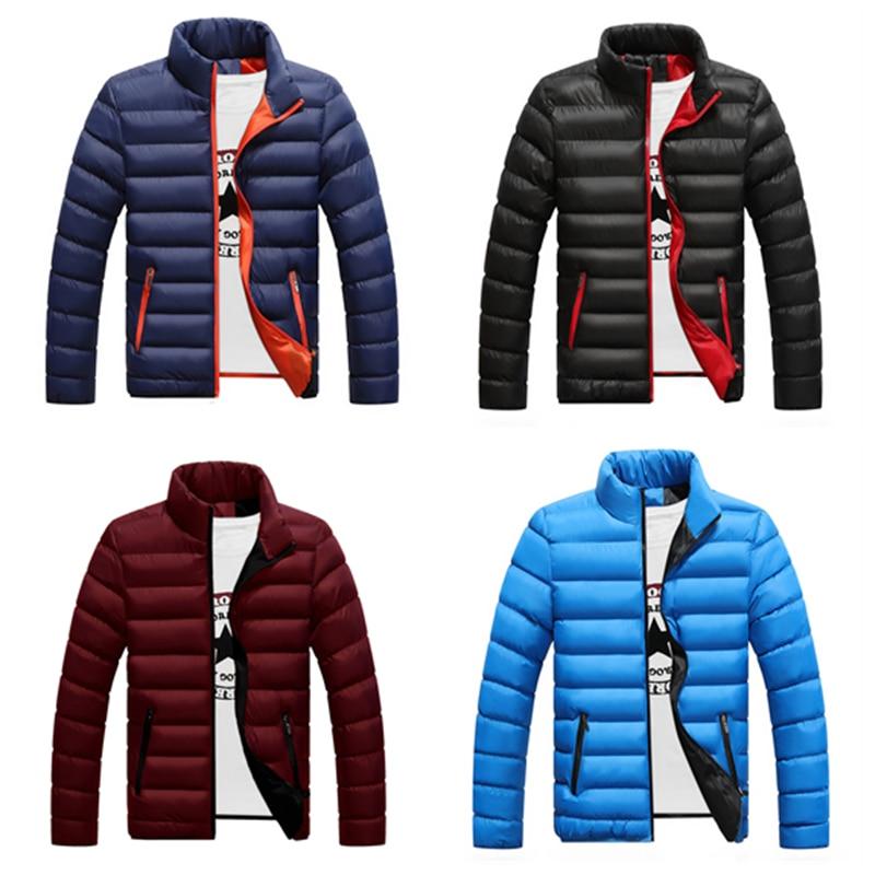 Новая теплая Толстая мужская зимняя куртка, повседневная мужская куртка, однотонная Мужская ветрозащитная хлопковая зимняя куртка с ворот...