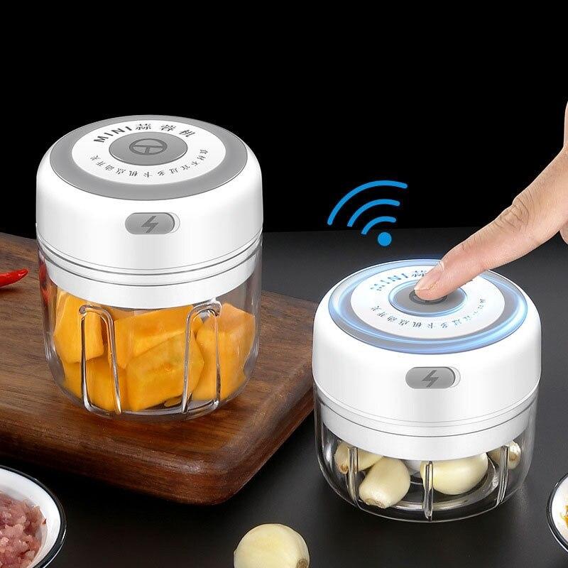 100/250 مللي هراسة الثوم الكهربائية هراسة الثوم الخضار الفلفل الحار اللحوم الثوم المروحية الصحافة USB آلة الهريس أدوات المطبخ