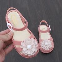 2021 factory hot sale new summer leisure open toe jelly sandals children girls comfortable flower sandals princess shoes single