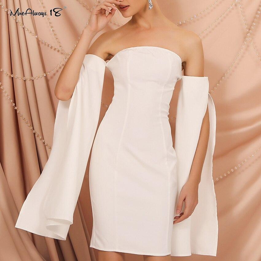 Mnealways18 primavera verão fora do ombro vestido branco festa à noite bodycon midi vestido alargamento manga feminina sexy fenda vestidos 2020