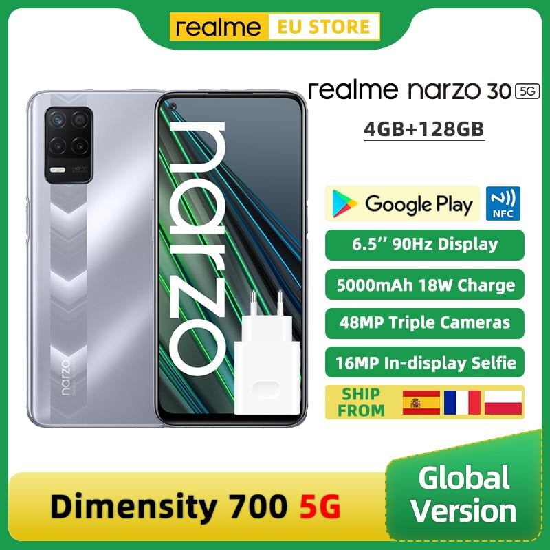 Перейти на Алиэкспресс и купить Глобальная версия realme Narzo 30 5G смартфон 4 Гб 128 Dimensity 700 5G 6,5 ''90 Гц Дисплей 48MP тройной Камера 5000 мА-ч