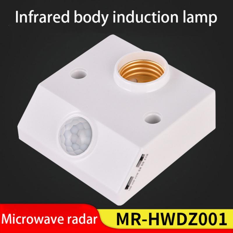 Держатель для лампы с пассивным инфракрасным датчиком движения E27, 220 В переменного тока, автоматический переключатель светильник лампы, держатель для лампы с индукцией для человеческого тела, 2021